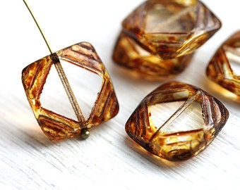 Square Picasso beads, Clear Czech glass beads, brown picasso finish, table cut, squares - 15mm - 4Pc - 2550