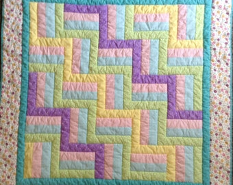Pastel flowers baby quilt