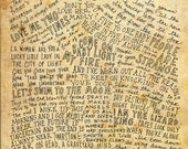 The Doors Lyrics and Quotes - 8x10 handdrawn and handlettered printed on antiqued paper