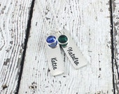 Mommy necklace - Name and birthstone necklace - Sterling silver - Hand stamped jewelry - Mothers necklace - Personalized jewelry - Gift mom