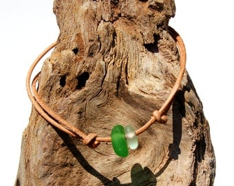 Hawaiian Emerald Green Beach Glass and Clear Beach Glass on India Leather Cord Completely Adjustable & Stackable Bracelet