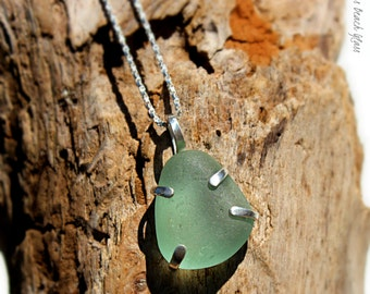 Hawaiian Kauai Bright Aqua Beach Glass Prong Set in 925 Sterling Silver Handcrafted Pendant / Necklace