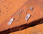 Angel Aura Quartz Hoop Silver Earrings