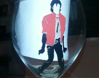 michael jackson inspired hand painted glass