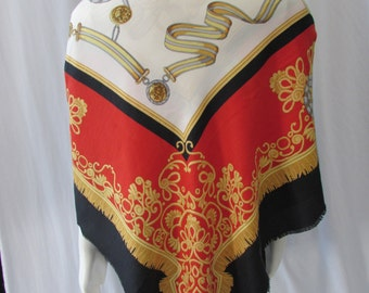 Scarf Extra large High Fashion Silk/Shawl/Red Gold Black White/Regal style