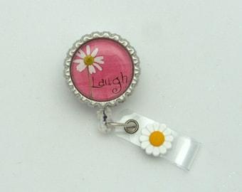 Simple Sentiments Retractable Badge Reel - Designer Badge Clips - Fun ID Holders - Cute Badge Reels - Daisey Badge Pull - Gifts Under 10