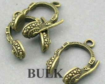 Headset 3D Charms BULK order Antique Bronze 20pcs zinc alloy pendant beads 18X25mm CM0409B