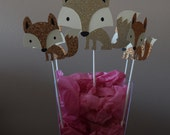 Fox die cuts/Cupcakes toppers/Centerpieces