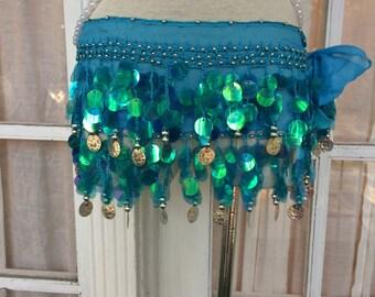 Rainbow Fish Mermaid Skirt in Azure Blue - O/S