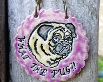 What the Pug?! - Purple Ceramic Ornament