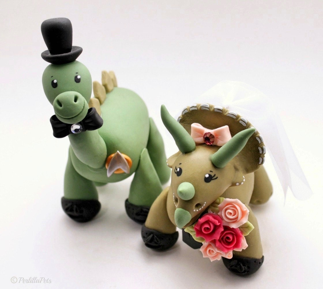 dinosaur wedding cake toppers dinosaur wedding cake topper brontosaurus groom and 13532