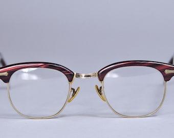 1950s Horn Rim Glasses 12K Gold Fill Shuron 24 mm Woodgrain Tortoise Shell Eyewear Eyeglasses