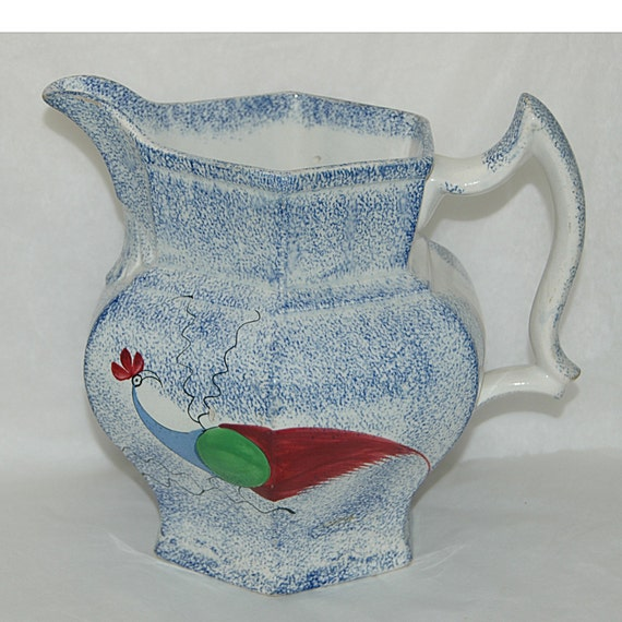 """Antique England 1830 BLUE SPATTERWARE PEAFOWL Design Pitcher 8"""" Tall No Crazing No repairs Blemish to Peafowl on One Side Small Chip Inside"""