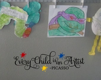 Every Child Is An Artist Vinyl Wall Decal Sticker Nursery Decor Pablo Picasso