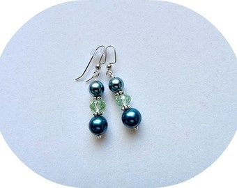 Earring in Teal Pearls and Green Crystals