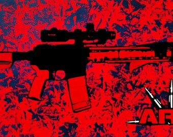 Original AR15 Rifle Themed Stencil Art Painting on 12x24 Inch Stretched Canvas