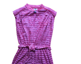 Vintage Sheer Stripe Pink Dress - Tunic Tea Dress - towelling belted mid length - womens medium size 12/14 -40 chest