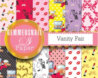 Makeup digital paper, girly, cosmetic and beauty digital papers with bows and lipstick x 12