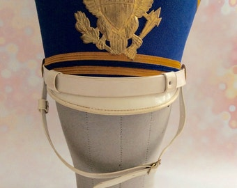 Vintage 1950s 60s Blue and Gold Marching Band Hat Size 6 7/8