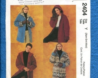 McCall's 2402 Hooded Ranch Hand Coats with Rolled Cuffs Size XS..S..M Uncut