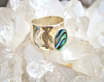 Sailor Moon Ring|Heart Majestic|Abalone Ring|Moon Ring|Abalone Rings|Abalone jewelry|Sterling Silver Moon Ring|Mermaid Jewelry|Mermaid Ring