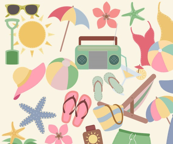 Retro Summer Clipart, Clipart, 50s Summer, Beach Clip Art ...