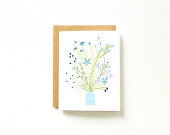 Floral Card, Blank Card, Cute Stationary Stationery, thank you card, Blank Card Set, Set of Cards, Card Set, Paper Goods, Blue Flower Print