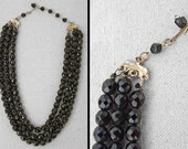 JET Bead Necklace // 3 Strand Graduated Length // 1960s Black Costume Jewelry