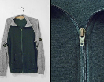 1970s Green Zip-up WARM Ups Heather Grey Track Jacket Mens Medium