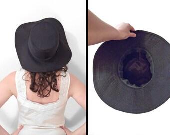 Black Floppy HAT 1990s Bucket Sun Hat