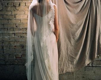 Wedding Veil, Bridal Veil, Mantilla Veil, Floor Length French Lace Mantilla - Style 2316
