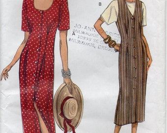 Loose Fitting Straight Dress Or Jumper With Attached Tie Ends And Pullover Top Plus Size 14 16 18 Sewing Pattern 1993 Very Easy Vogue 8581