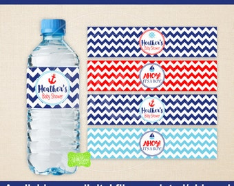 Nautical Water Bottle Labels - Sailing Water Bottle Wraps -  Nautical Baby Shower Bottle Labels - Digtal & Printed Available