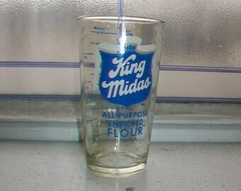 King Midas Flour Tumbler Measuring Glass Vintage 1950s advertising