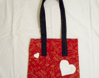Large Red Handbag with White Heart Appliques and Long Black Straps