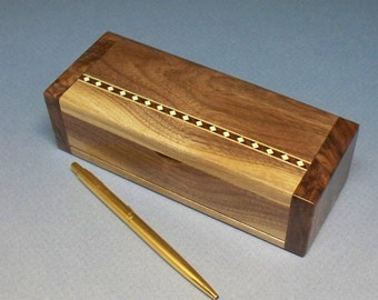 Walnut and Figured Walnut Trinket Box, Bracelet Box, Necklace Box, Charm Bracelet Box,  Mahogany & Maple Inlay Box - Lacquer Finished