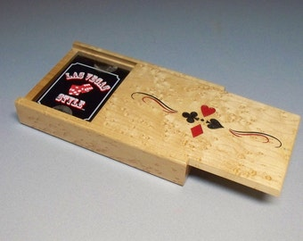 Playing Card Box, Lazer Engraved, Bird's-eye Maple, Wooden Gift for Him