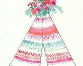 Boho Teepee Art, Original Watercolor Painting, 8x10, pink, mint, coral, orchid, flowers, aztec design, boho pattern, teepee painting, stripe