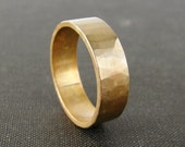 Wide brass wedding band. Simple textured mens ring. His and hers wedding bands.