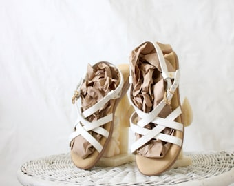 Vintage White Leather Strappy Sandals Sz 9