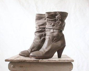 c1970's Zodiac Taupe Leather Slouch Boots Sz 5