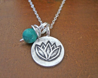 Lotus Necklace - Turquoise Necklace with Sterling Silver Chain, Handmade Fine Silver Pendant, Bohemian