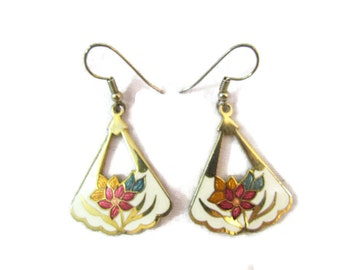 Cloisonne Earrings Dangle Earrings Pierced Earrings Cloisonne Jewelry Flower Enameled Asian Jewelry Gold Inlay Antique Enamel Jewelry