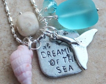 Dreaming of the Sea Beach Charm Necklace with whale tail, sea shell, frosted blue sea glass, crystal and African Opal by Inarajewels