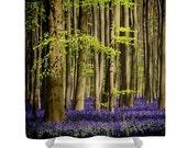Shower Curtain, Forest, Nature, Fairytale, Bathroom Decor, Purple, Green, Trees, Photography Curtain, Home Decor, Bluebells, Wildflowers