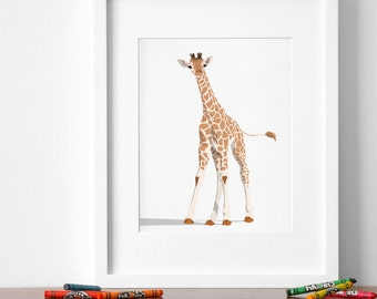 Giraffe art print, Giraffe nursery artwork, baby jungle animal print, safari childrens ilustration - baby animal nursery art