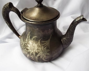 Antique Brooklyn Silver Co Floral Etched Teapot Silver Plate