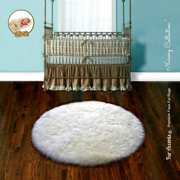 Faux Fur Round Sheepskin Shag Accent Rug Plush By FauxFurRugs