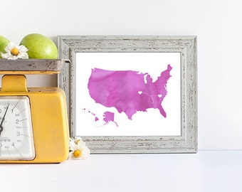 USA Map custom Personalized Print - housewarming Dotted Lines  Love Connection Art Gift United States Destination Wedding Watercolor Series
