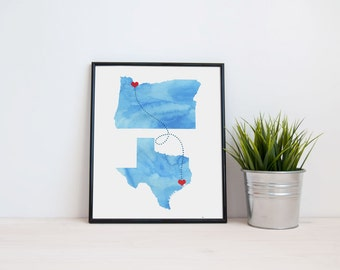 Any Two States Love Connection - Watercolor Wedding Gift  - Personalized State Heart Natural Series - Custom Location Modern Art Print